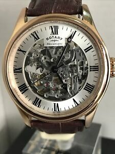 ROTARY MENS SKELETON MECANIQUE ROSE GOLD PVD BROWN LEATHER Watch GS02942/01