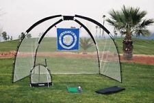 Golf Swing Training Aid Set Driving Mat Chipping Net Bag Outdoor Practice 3 in 1