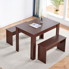 3 Piece Dining Table Set Wooden Dining Table w/2 Benches for Kitchen Dining Room