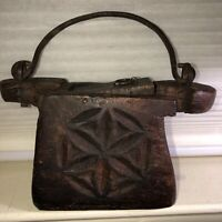 ANTIQUE PRIMITIVE HAND CARVED WOODEN TINDER BOX WITH HAND FORGED HANDLE