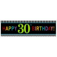 LARGE 30th HAPPY BIRTHDAY BANNER SIGN CHEVRON 30 THIRTY PARTY WALL DECORATION