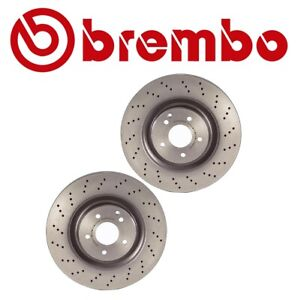 Pair Set of 2 Front Brake Disc Rotors Drilled Brembo for MB W203 C209 A209 R171