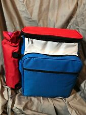 Insulated Romantic Wine Picnic Basket Backpack Tote Cooler For 2 Red White Blue