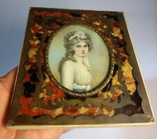 Antique miniature painting lady portrait inlaid frame hand painted signed COSWAY