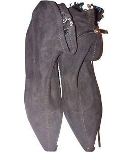Monsoon Black Faux Suede Kitten Heel.ankle Boots Size 6 Rrp £50