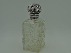 Antique Edwardian Large Ornate Sterling Silver Lid & Cut Glass Perfume Bottle 19