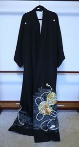 #1 Japanese Black Formal Silk Kimono, Tomesode, Embroidery
