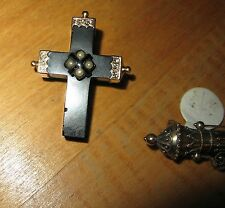 VICTORIAN MOURNING CROSS Jet PIN Brooch Seed Pearls 14K GOLD Antique Vintage Old
