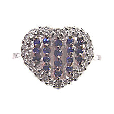 BLUE SAPPHIRE .21 CT ROUND SHAPE DIAMOND .35 CT ROUND SHAPE 18 K WHITE GOLD RING