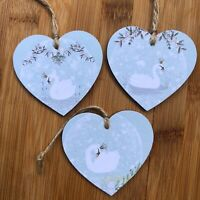 Christmas Decorations Swans Handmade Wooden Hanging Hearts Decorations set of 3
