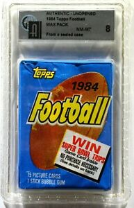 1984 Topps Football Unopened Wax Pack from a Sealed Case GAI 8 NM-MT