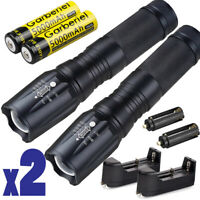 2Sets Tactical X800 Flashlight LED Zoom Military Grade Torch 18650 Light Lamp US