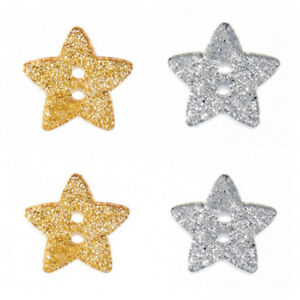 Star Shaped Glitter Buttons - Gold and Silver - Free UK Postage - Volume Savings