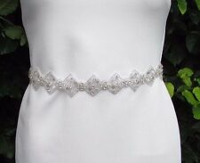 Ivory Silver Diamante Beaded Bridal Dress Belt Sash Prom Crystal Wedding 3457