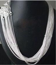 "Wholesale Lot of 50 Plain, Simple 925 Silver Tone Necklace Chains, 18"" DIY"