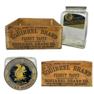 Antique Squirrel Peanuts Glass Jar & Wood Dovetail Taffy Box Advertising Crate