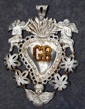 More details for antique relic reliquaire silver rare reliquary pendent cherub angel