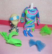 Barbie 1991 TOTALLY HAIR Multi Mod Mini Dress Outfit Blue Shoes SCARF HAIR Tie