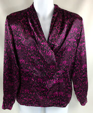 Impressions of California Women's Magenta Button Front Career Top Blouse A1215
