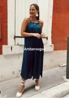 Zara New Pleated Camisole Maxi Petrol Blue Flowing Dress Size XS / S / M / L