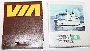 Via Rail Train + BC Ferries Queen of Prince Rupert Canada Matchbook Cover