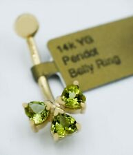 GENUINE 0.90 Cts PERIDOT BELLY NAVEL RING 14K Solid GOLD ** New With Tag **
