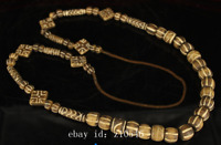 Chinese temple old wood fossil bead necklace