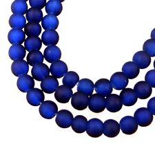 100 Czech Frosted Sea Glass Round Beads - Matte - Cobalt 4mm