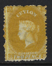 CEYLON : 1867 two pence ochre perf 12 1/2 SG64 unused,no gum