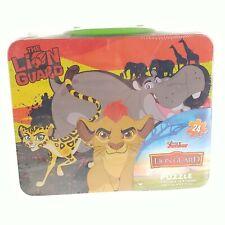 "Disney Lion King Guard Puzzle Tin Lunchbox Case Metal 15""x12.5"" 24pc Kids"