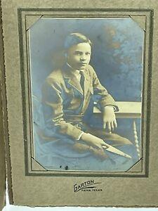 Vintage Gelatin Silver Photo Young Man Tie Desk Garton Paris Texas Matted ea2