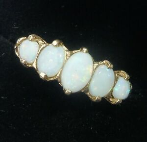 9ct Gold White Opal Five Stone Eternity Ring, Size P