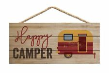 """HAPPY CAMPER Distressed Wood Hanging Sign, 10"""" x 4.5"""""""