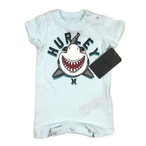 Hurley Baby Blue Short Sleeve Knit Surf Logo Shark Graphic One Piece Shorts NEW