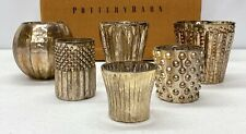 NEW Pottery Barn Antique Mercury Glass Votive Holders~SET OF 6~Oxidized Gold
