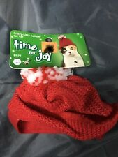 CAT BEANIE Time for Joy Winter Kitty Cat HAT w/ PomPom & Strap PET CLOTHES New!