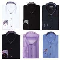 "Mens Premium Formal Regular fit Contrast Paisley Floral Shirt S-4XL 14.5""-19"