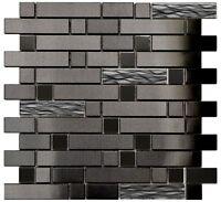 Kitchen Bath Backsplash Fireplace Black Wave Stainless Steel Glass Mosaic Tile