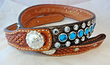 Double J Saddlery Belt Western Hair On Leather Rhinestones Crystals Conchos 28
