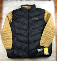 New Orleans Saints 3 in 1 Puffer Jacket + Puffer Vest Black + Gold G-III NFL 4XL