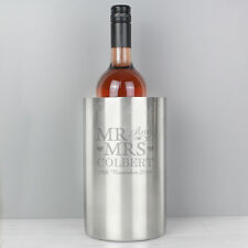 Personalised Engraved Mr & Mrs Stainless Steel Wine Cooler Wedding Anniversary