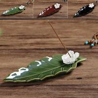 Ceramic Leaf Incense Burner Stick Lotus Flower Holder Buddhist Temple Home Decor