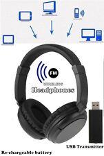 Wireless Cordless Headphones Headset USB Stereo Earphone TV FM PC MP3 Headphone