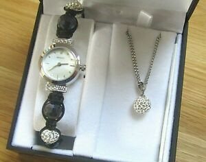 BRAND NEW LADIES SEKONDA WATCH MOTHER OF PEARL DIAL AND CRYSATALLA NECKLACE