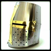 Details about  /Medieval Reproduction Templar Armor Shield Made Solid Steel 19x34 inch w chain