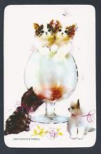 #915.057 Blank Back Swap Cards -MINT- Kittens with a brandy balloon
