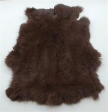 2x High Quality Dyed Coffee Rabbit Skin Pelt Real Fur Hides Craft Grade Tanned