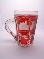 ANTIQUE VICTORIAN GLASS GRAND TOUR TANKARD, BOHEMIAN CZECH  RUBY GLASS, ENGRAVED