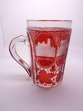 Antico Vittoriano in vetro Grand Tour Tankard, Bohemien Ceco Vetro Rubino, inciso