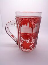 ANTIQUE VICTORIAN GLASS GRAND TOUR TANKARD, BOHEMIAN CZECH  RUBY GLASS, ENGRAVED